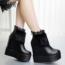 купить BYQDY Women Snow Boots Increasing Height Woman Ankle Fur Boots Winter Warm Ladies Snow Boots Size 34-39 Russian Shoes Black New по цене 1747.47 рублей