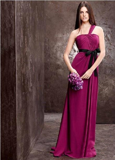 Free Shipping Robe De Soiree 2014 New Hot Fashion One Shoulder Vestidos De Festa Purple Belt Bow Party Evening Elegant Dresses