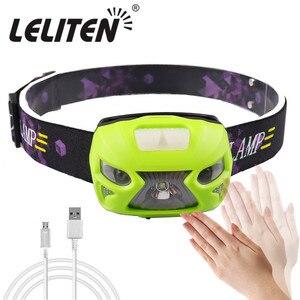 Image 1 - Usb充電式 + バッテリーXML T6 ヘッドランプミニヘッドライトir誘導ledヘッドランプ釣り懐中電灯ヘッドランプトーチ