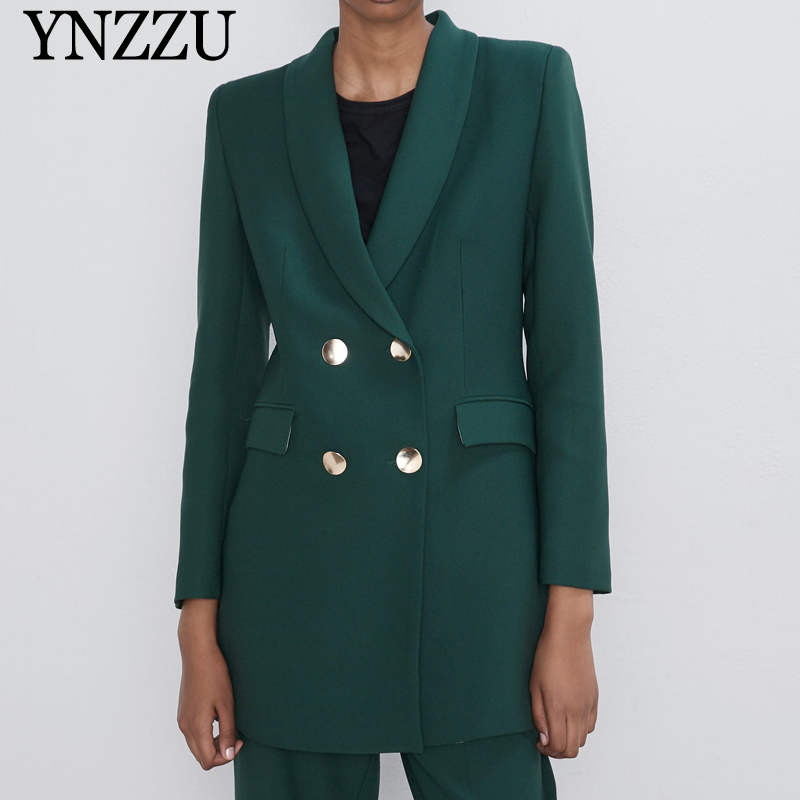 2019 New Arrival Solid Color Women Blazer Sprint Autumn Double Breasted Ladies Suit Elegant Loose Female Jackets YNZZU YO982