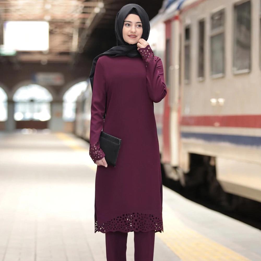 Siskakia Muslim Women Tops Knee Length Long Burn Out Side Split Plain Top Elegant O Neck Long-sleeve Turkey Arab Islam Clothing