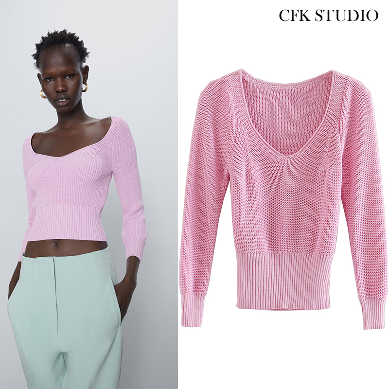 1:1 Za Women Sweater With O-neck Long Sleeve Knitted Pullover Femme Summer Solid Basic Casual Pink Top