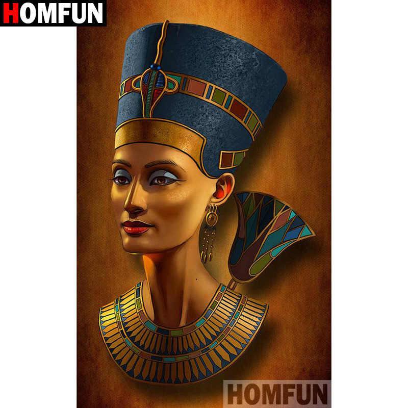 """HOMFUN Boya Elmas Nakış """"Mısır kadın"""" Elmas Boyama Tam Kare Yuvarlak Resim Rhinestone Dekor A27373"""