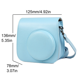 Image 2 - Besegad Pure Color PU Leather Storage Carrying Protective Pouch Bag Case with Shoulder Strap for Fujifilm Instax Mini 8 8+ 9