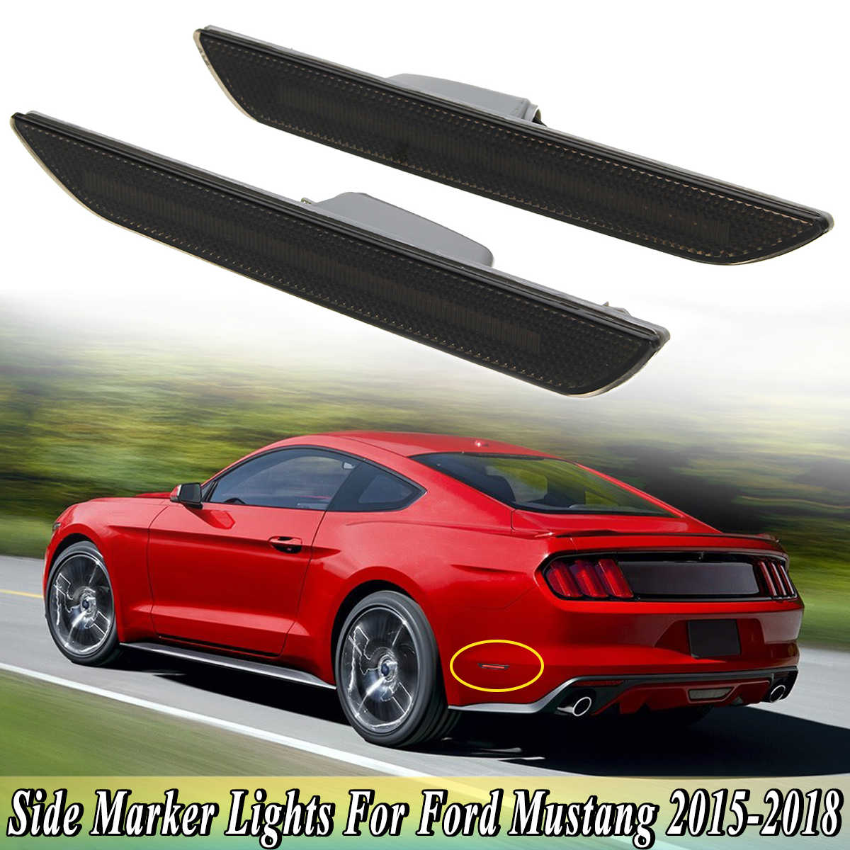 1Pair Smoked Black Lens Red LED Rear Side Marker Lights Lamps Fit For Ford For Mustang 2015 2016 2017 2018 Bumper Back Lamp