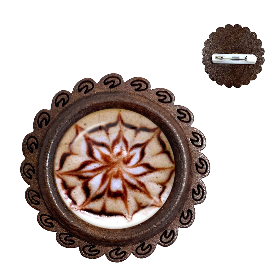Hot Chocolate Lover wooden brooch