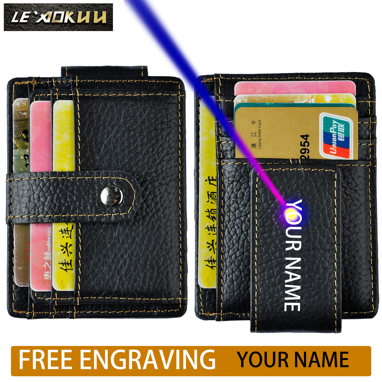Le/'aokuu Genuine Leather Magnet Money Clip Credit Case Case Holder Slim Wallet