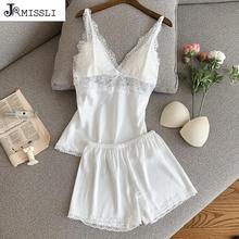 JRMISSLI Women Pajamas Satin Sleepwear Pijama Silk Home Wear Lace Home Clothing Chest Pads Spaghetti