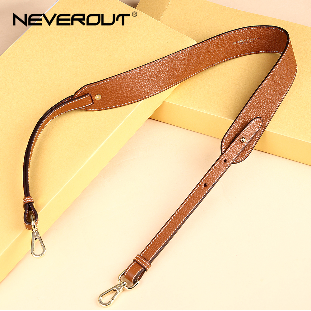 NEVEROUT Genuine Leather Shoulder Strap Women Solid Bag Wide Belt 97cm*4cm