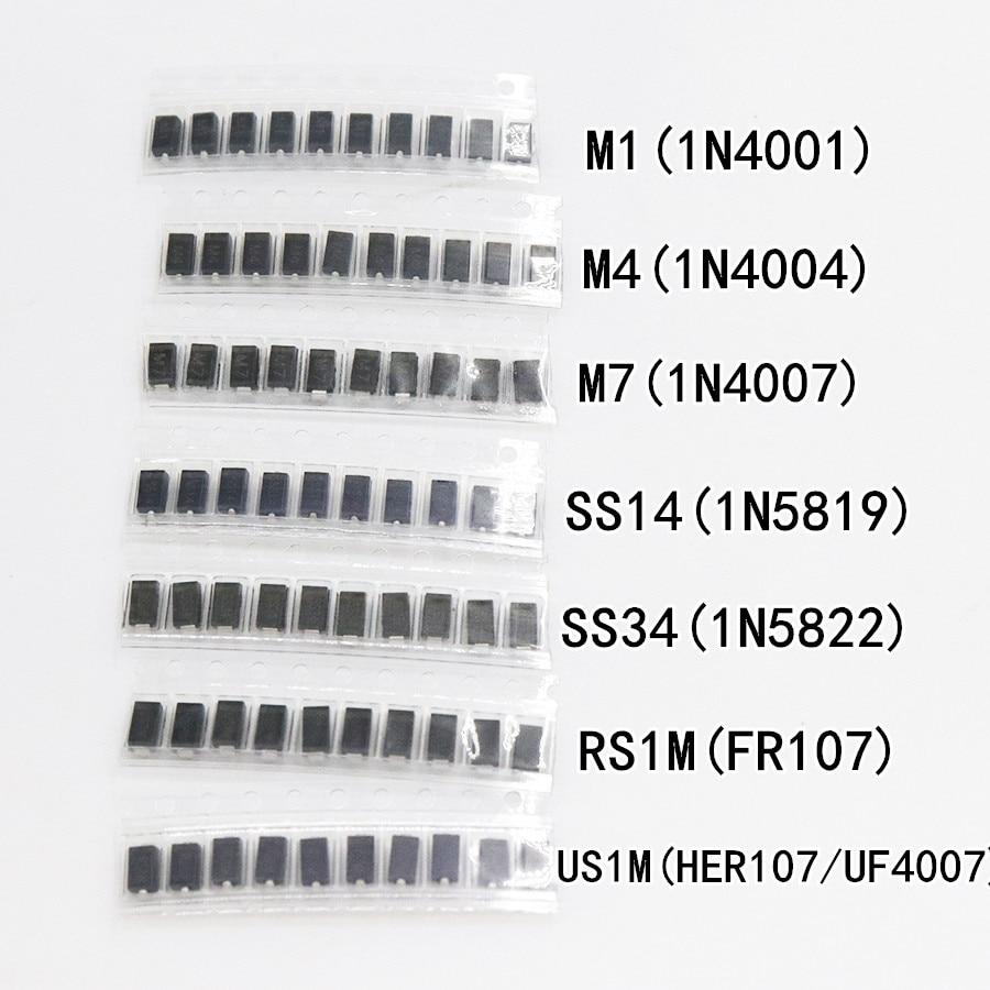 7 видов * 10 шт = 70 шт./лот SMD пакет диодов/M1 (1N4001) / M4 (1N4004) / M7 (1N4007)/ SS14 US1M RS1M SS34 набор|smd diode|diode smddiode kit | АлиЭкспресс - ali electro