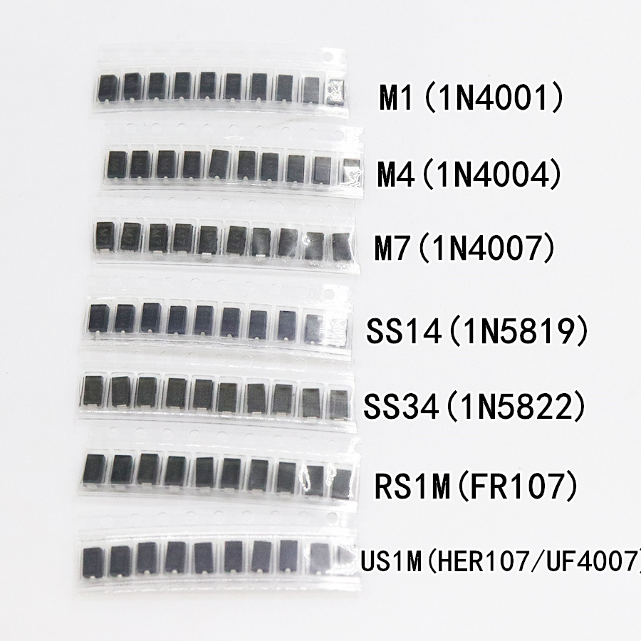7 kinds*10pcs=70pcs/lot SMD diode package / M1 (1N4001) / M4 (1N4004) / M7 (1N4007)/ SS14 US1M RS1M SS34 KIT