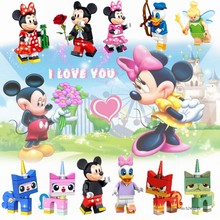 Cartoon Figures Mickeys Mouse Minnie Donald Duck Daisy Toy Story Building Blocks Action Figure for Friends Girls Toys Kids Gifts(China)