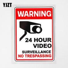 Yjzt 9.4cm × 13.3cm aviso 24 horas vídeo vigilância decalque pvc carro adesivo 12c-0719