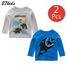 27kids 2PCS Boys T Shirt Spring Autumn Girls Cartoon Dinosaur Children Shark Long Sleeve Casual Tops