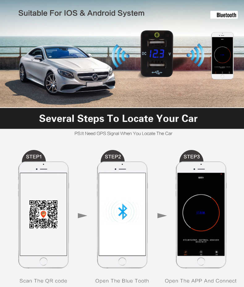Auto Accessoires Interieur Auto Gps Tracker Toyota Corolla Locatie Parking Autolader 12V 24V Dual Usb Voltage Monitoring voltme