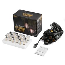 48FT Outdoor LED String Lights 15 LED S14 Bulbs Hanging Sockets Weatherproof UL-listed Perfect Patio & Party Lights Warm White
