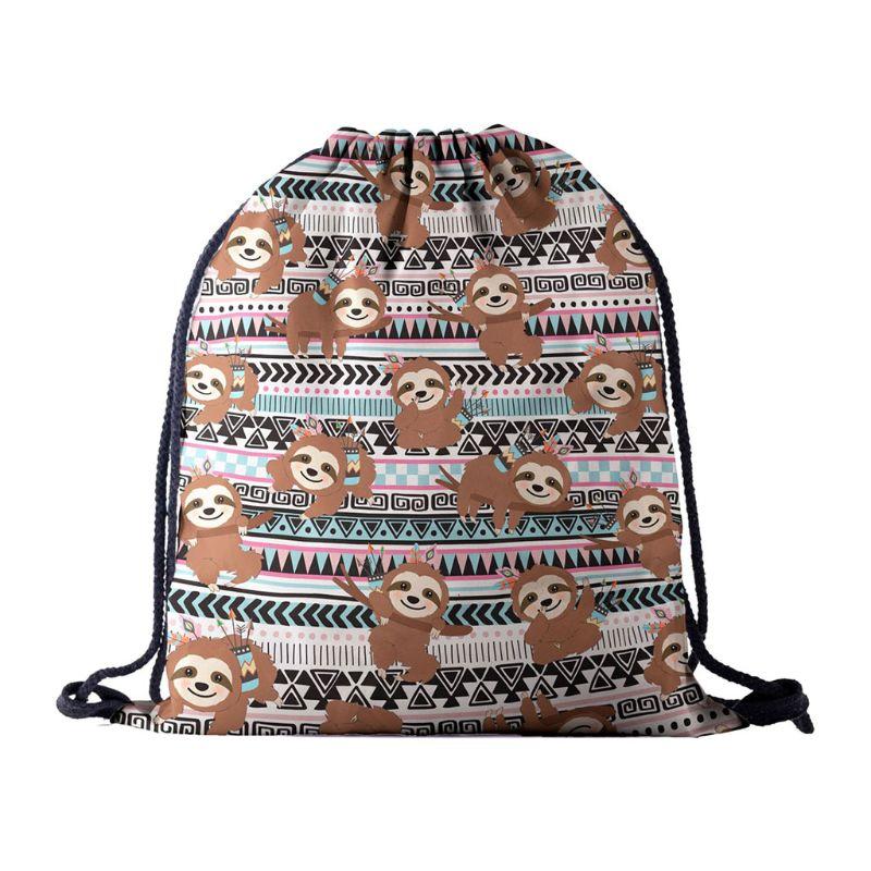 Portable Women Backpack Print Shopping Bags Drawstring Daypack Travel Shop Bag