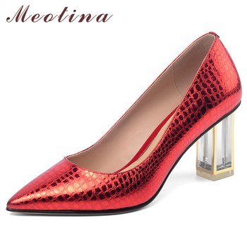 Meotina High Heels Women Pumps Natural Genuine Leather Thick High Heel Wedding Shoes Cow Leather Pointed Toe Shoes Ladies Red 39