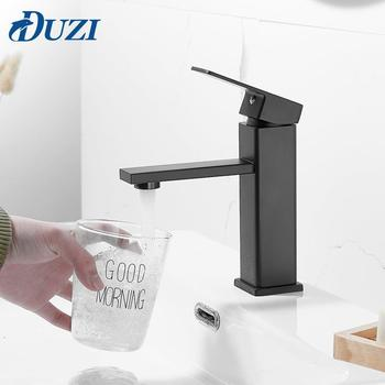 Deck Mounted Basin Sink Bathroom Faucet Hot and Cold Water Basin Mixer Taps Matte Black Lavatory Sink Brass Taps Crane Faucet