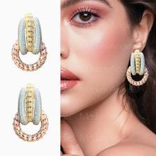 ModemAngel Luxury Wedding Flower Earrings Full Mirco Pave Cubic Zircon Dubai Earring Fashion Copper Jewelry