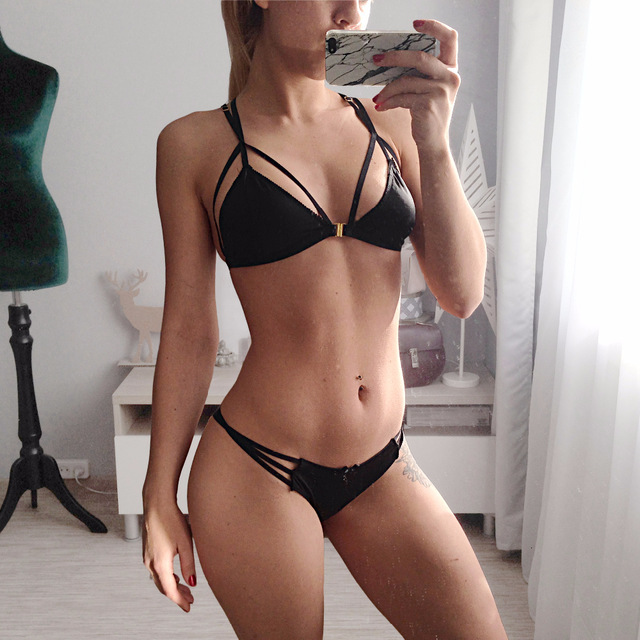 Sexy-Lingerie Set Intimates Bra And Panties Two Piece Underwear Suit Women G-string Transparent Black Adjustable Bra Sets