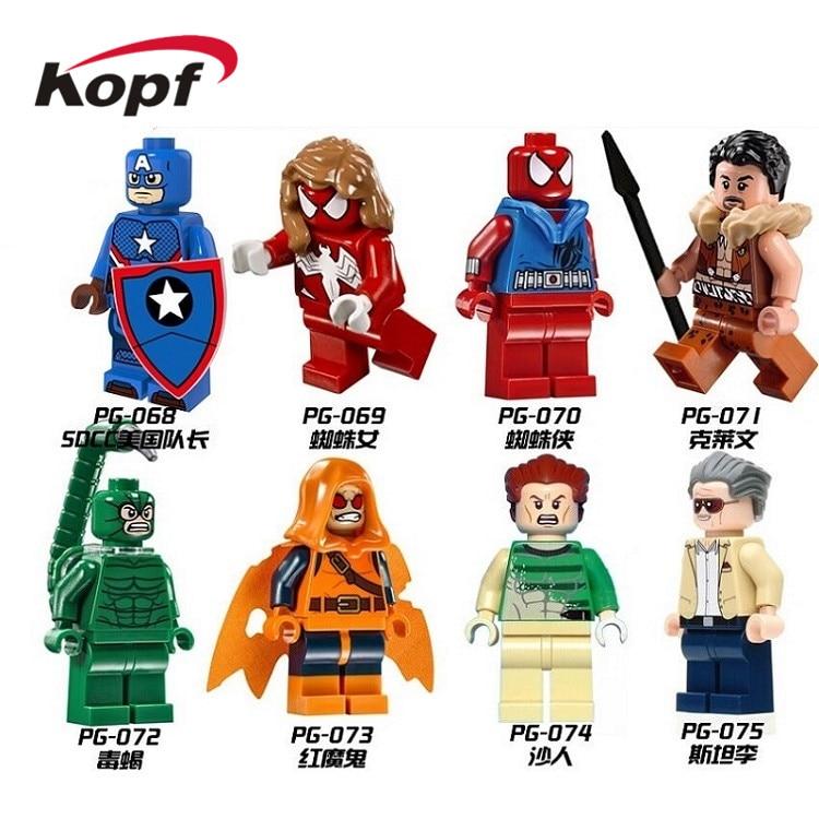Single Sale Super Heroes Building Blocks SDCC Captain America Spiderman Hobgoblin Action Figures For Children Model Toys PG8017