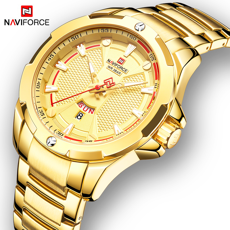 NAVIFORCE Military Fashion Gold Watch Men Luxury Quartz Wristwatch Sport Casual Clock Wateproof Watches Relogio Masculino 2019-in Quartz Watches from Watches