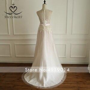 Image 2 - Boho rosa frisado apliques vestido de casamento 2020 swanskirt luxo lantejoulas tule princesa tribunal trem vestido de noiva robe de mariee a249