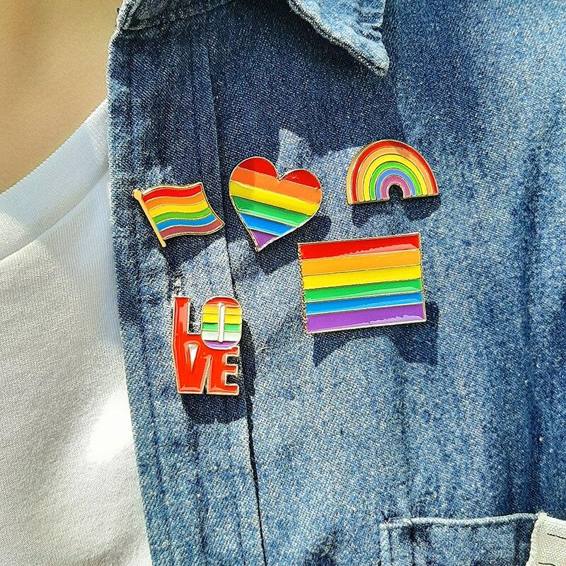 Vnox набор брошей для мужчин и женщин Радужный красочный сердце флаг ювелирные изделия металлические броши ЛГБТ гордость любовь аксессуар