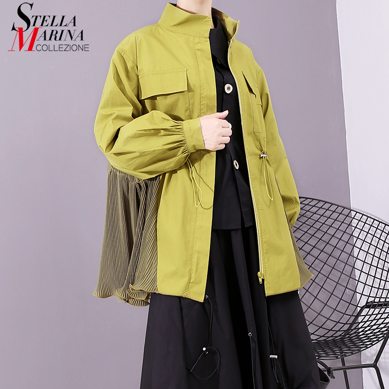 * New 2019 Korean Style Women Fashion Autumn Green   Basic     Jacket   Drawstrings Long Sleeve Zipper Lady Casual Outerwear   Jacket   5525