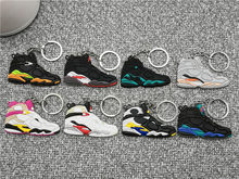 Cute Mini Silicone Jordan 8 Shoes Keychain Bag Charm Woman Men Kids Key Ring Gifts Accessories Air Sneaker Key Holder Pendant(China)