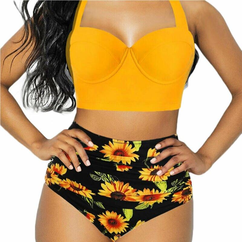 Women Push Up Bikini Set Bra Padded Swimwear Bandage Summer Floral High Waist Shorts Swimsuit Sunflower Beachwear Bathing Suit