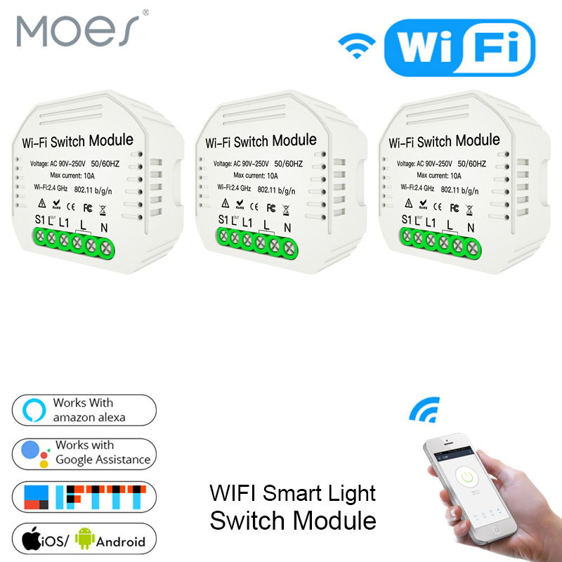 Diy Wifi Smart Light Switch Breaker Module Smart Life Tuya APP Remote Control,Works With Alexa Echo Google Home 1 2 Way