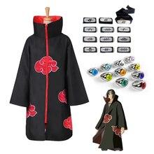 Akatsuki Cloak Naruto Coat Cosplay Costumes Ring-Suit Cape Anime Headband Uchiha Itachi