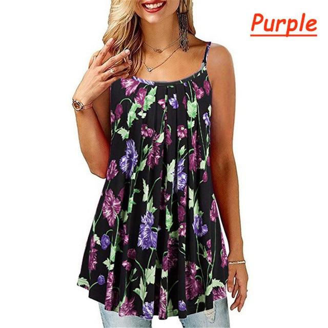 Plus Size S-6 XL Ladies Shirt Women Summer Sleeveless Floral Print Casual Loose Female T shirt Tops 4