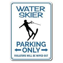 Esquiador de água sinal de estacionamento metal sinal de estanho sinal de metal, sinal de esquiador de água, presente para esquiador de água, sinal de esqui aquático, esquiador meta