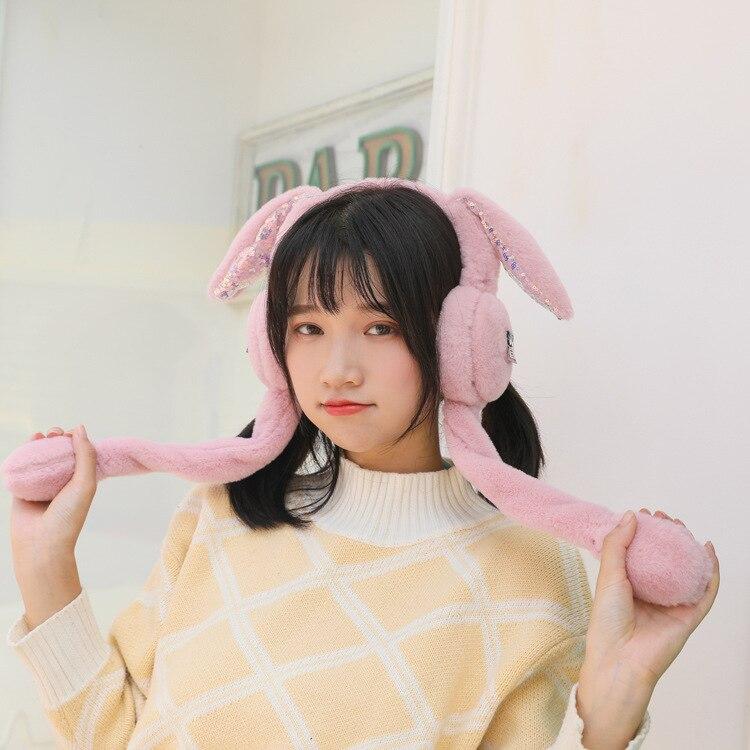 310 New Winter Accessories Wholesale Sparkling Balloon Rabbit Ears Will Move Plush Warm Winter Ear Warm Fur Earmuffs