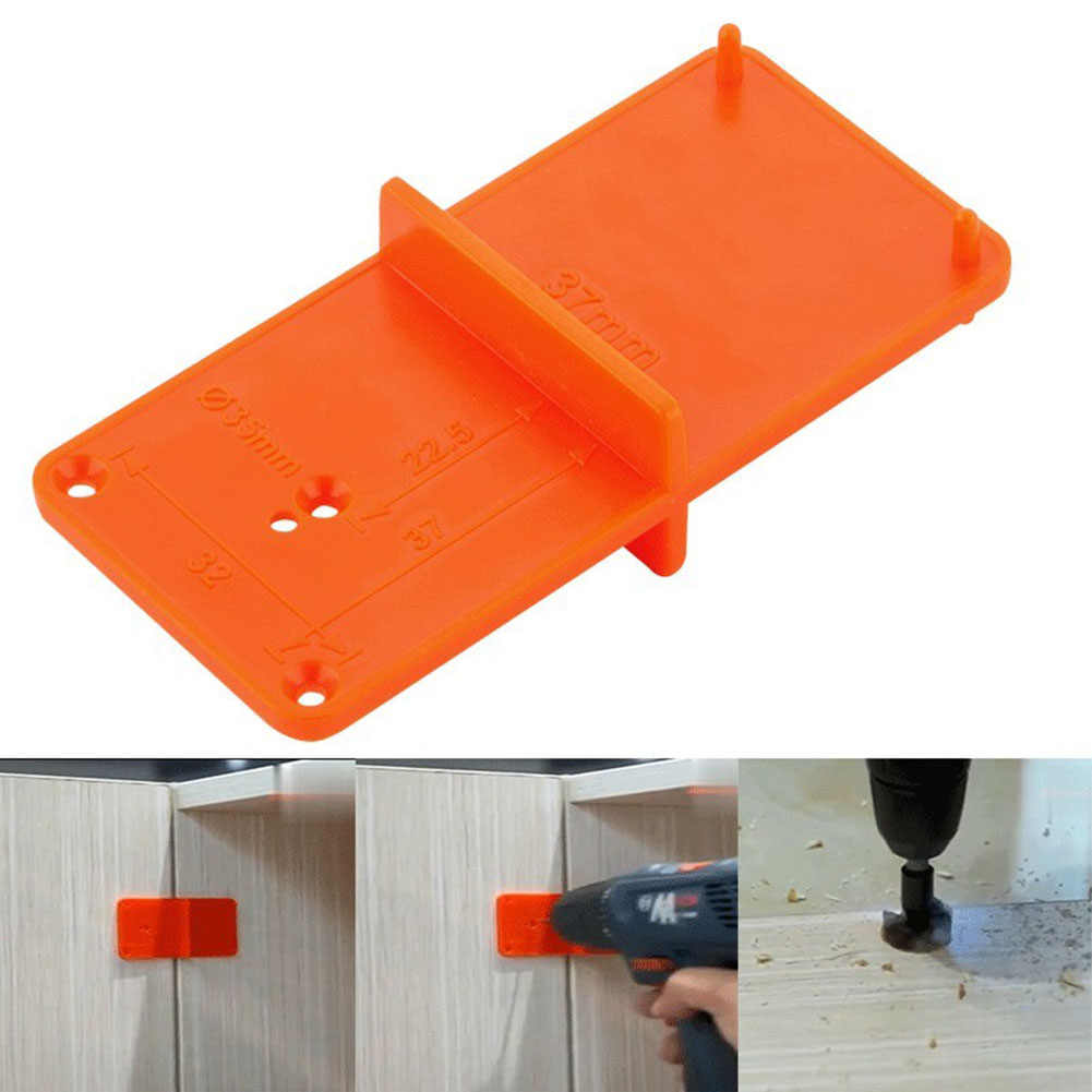 35mm 40mm Hinge Hole Drilling Guide Locator Orange DIY ccurate Durable Door Template Opener Drilling Guide Woodworking #