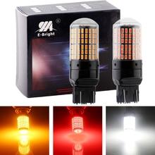 YM E-Bright, 2 шт., 7443 T20 W21/5 Вт, тормозной светильник, автоматический светодиодный светильник Canbus 3014, без ошибок, автомобильный светильник s 12 В DC, без гипервспышки, янтарный, белый, красный