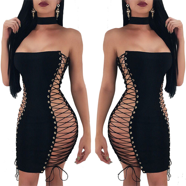 European and American woman sex appeal double - side lace-up  wrap bosom slim dress 1