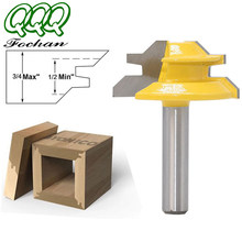 QQQ1Pc 45 Degree Lock Miter Router Bit 8Inch Shank Woodworking Tenon Milling Cutter Tool Drilling Milling For Wood Carbide Alloy