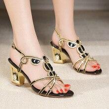 Sexy Women Semi-High Heel Sandals Crystal Chunky Elegant Cutout Roman Shoes Luxury High Heels