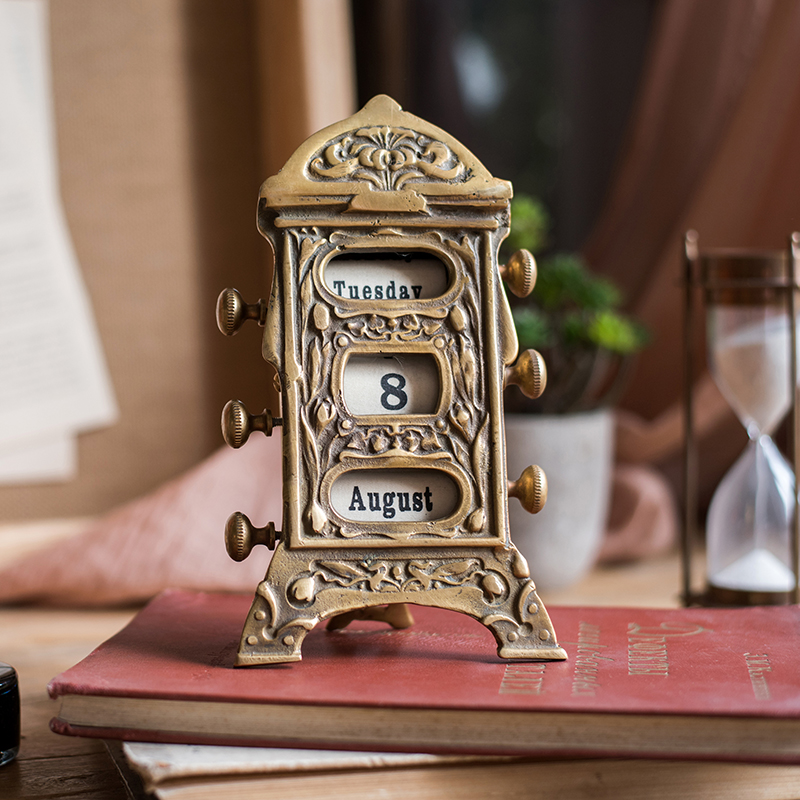 Vintage Brass Calendar Ornaments Household Pure Copper Perpetual Calendars Creative Retro Decor High Quality Brass Calendar As Effectively As A Fairy Does