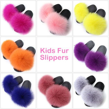 Kids Girls Fur Slippers Real Fox Plush Shoes Children Outdoor Fluffy Non-slip Furry Home Slides Cute