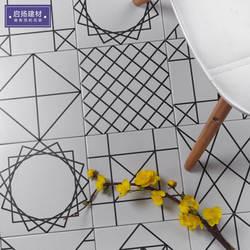 Североевропейский Стиль Современный минималистичный черно-белая плитка 300 Геометрические линии кухня настенная плитка ванная комната
