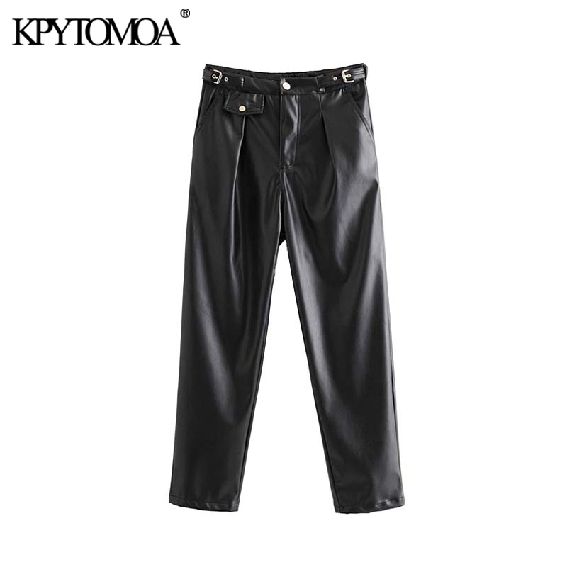 Vintage Stylish Faux Leather Pockets Pants Women 2019 Fashion High Waist Zipper Fly Female Ankle PU Trousers Pantalones Mujer