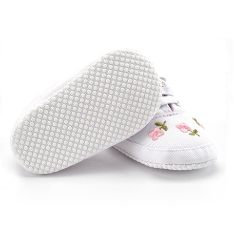 Baby Girl Shoes White Lace Floral Embroidered Soft Shoes Prewalker Walking Toddler Kids Shoes First Walker Lahore
