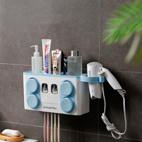 Multifunctional Plastic Toothbrush Cup Holder Wall Mount Toothbrush Holder Transparent New Cup Holder Hanging Storage Box