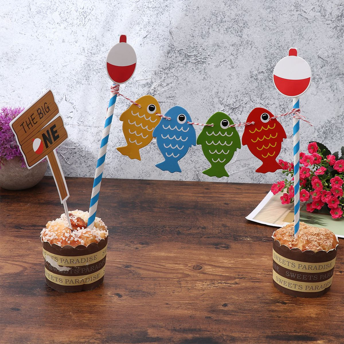 Brilliant 1 Set Fishing Themed Cake Topper Lovely Cake Decoration Topper Funny Birthday Cards Online Eattedamsfinfo