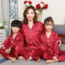 Fashion Family Pajamas Set Parent-child Suit Children's Sleepwear Suit Mom Son and Daughter Soild Satin Family Matching Outfit(China)